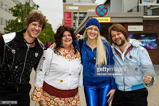 Fans dressed as ABBA arrives at the 2016 Eurovision Song Contest final at Ericsson Globe Arena on May 14 2016 in Stockholm Sweden