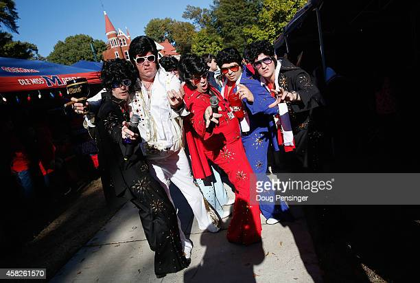 Fans dressed as Elvis attend pregame parties in The Grove as the Auburn Tigers face the Mississippi Rebels at VaughtHemingway Stadium on November 1...