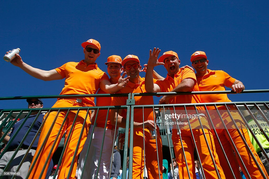 Fans dressed as Rickie Fowler pack the stands on the 16th hole during the third round of the Waste Management Phoenix Open at TPC Scottsdale on February 6, 2016 in Scottsdale, Arizona.