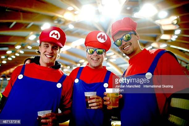 Fans dressed as SuperMario enjoy the atmosphere during Day 1 of the ISU World Cup Speed Skating Final at the Gunda NiemannStirnemannHalle on March 21...