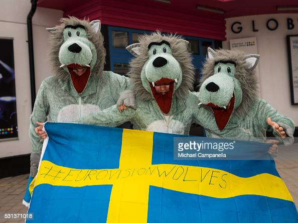 Fans dressed as Wolves arrive at the 2016 Eurovision Song Contest final at Ericsson Globe Arena on May 14 2016 in Stockholm Sweden