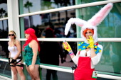 Fans dressed in cosplay on the final day of ComicCon 2014 on July 27 2014 in San Diego California