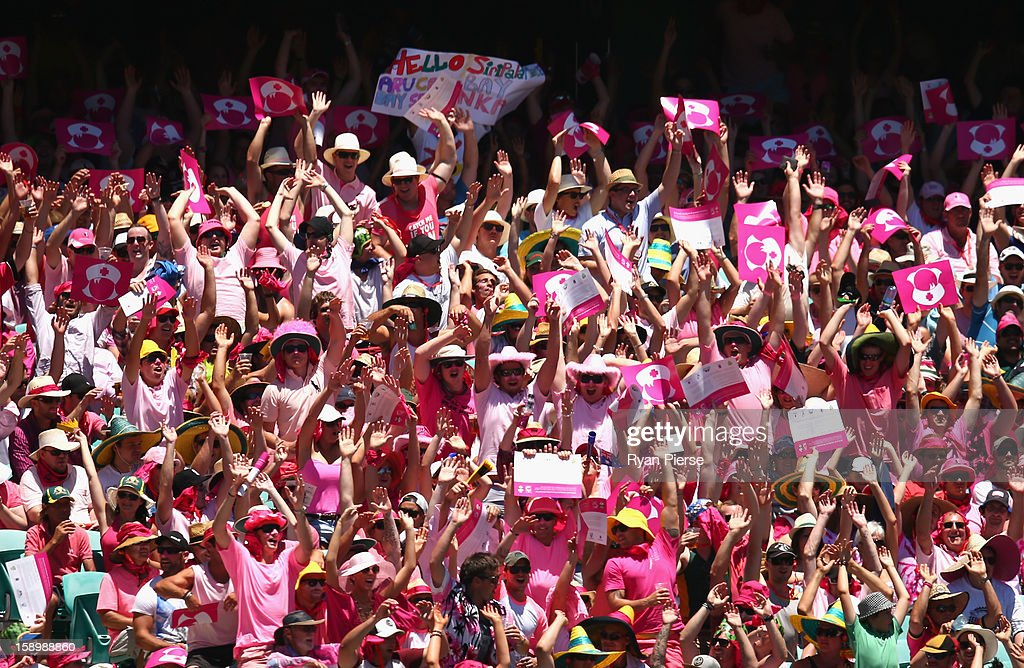 Fans dressed in pink cheer on Jane McGrath day during day three of the Third Test match between Australia and Sri Lanka at Sydney Cricket Ground on January 5, 2013 in Sydney, Australia.