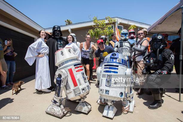 Fans dressed in Star Wars costumes attend the dedication of Mark Hamill Drive on July 30 2017 in San Diego California