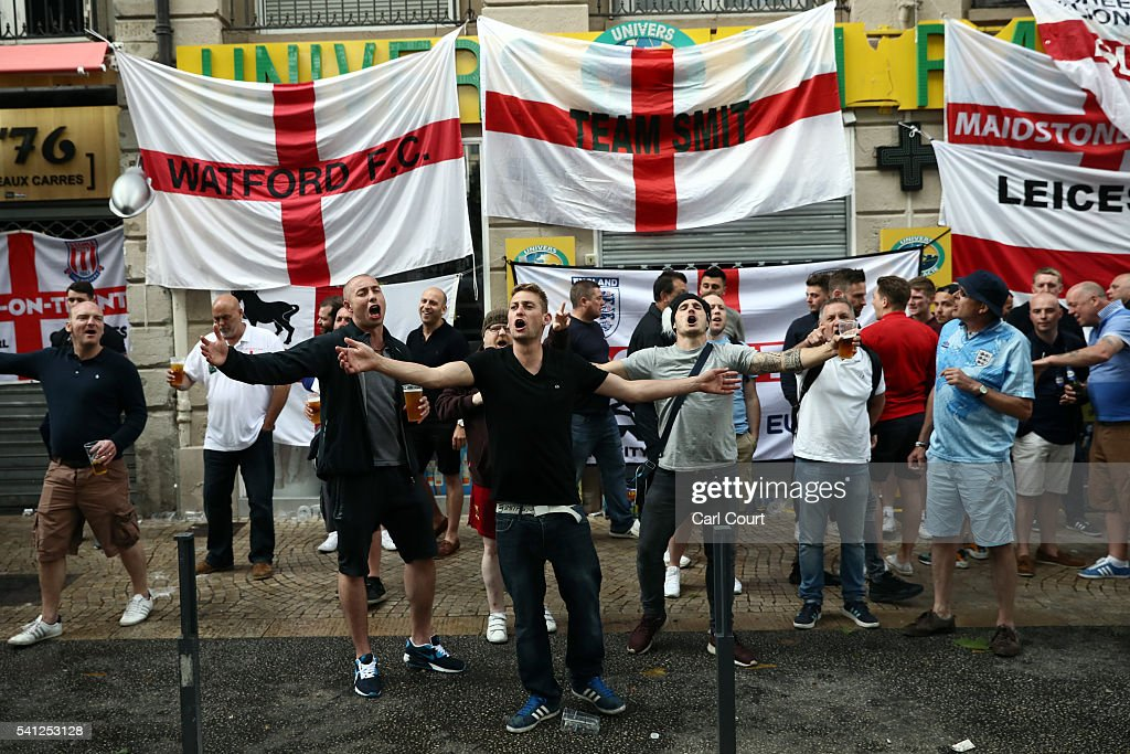 Fans Gather In Saint-Etienne Ahead Of England v Slovakia Match : News Photo