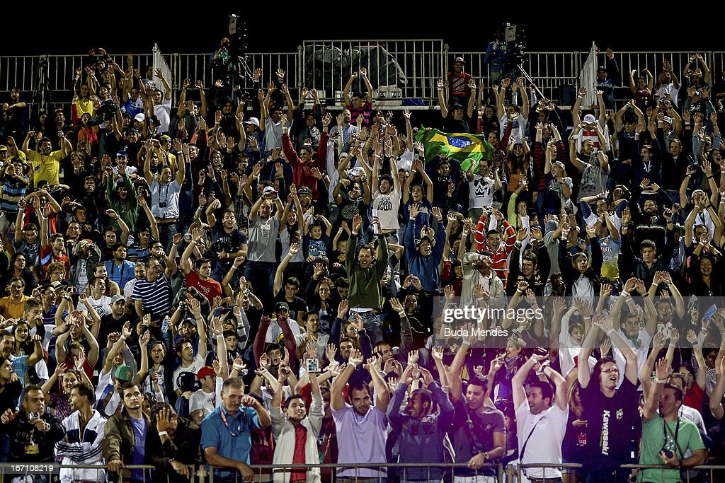 Fans during Moto X Step Up at the X Games on April 19, 2013 in Foz do Iguacu, Brazil.