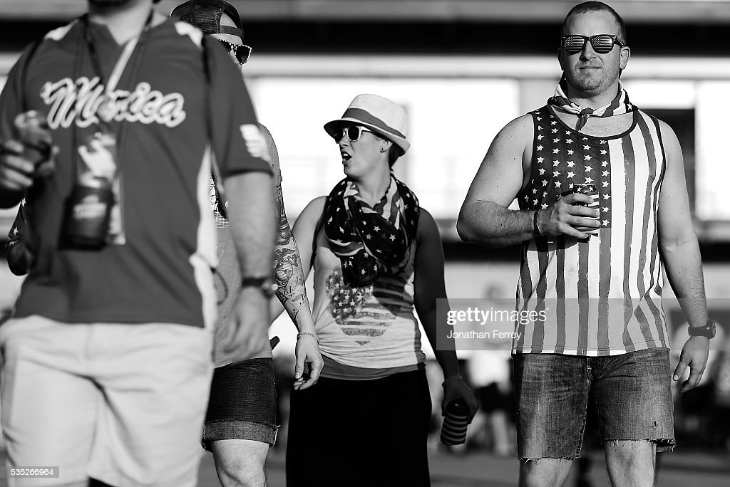 Fans during the 100th Running of the Indianapolis 500 Mile Race at Indianapolis Motorspeedway on May 29, 2016 in Indianapolis, Indiana.
