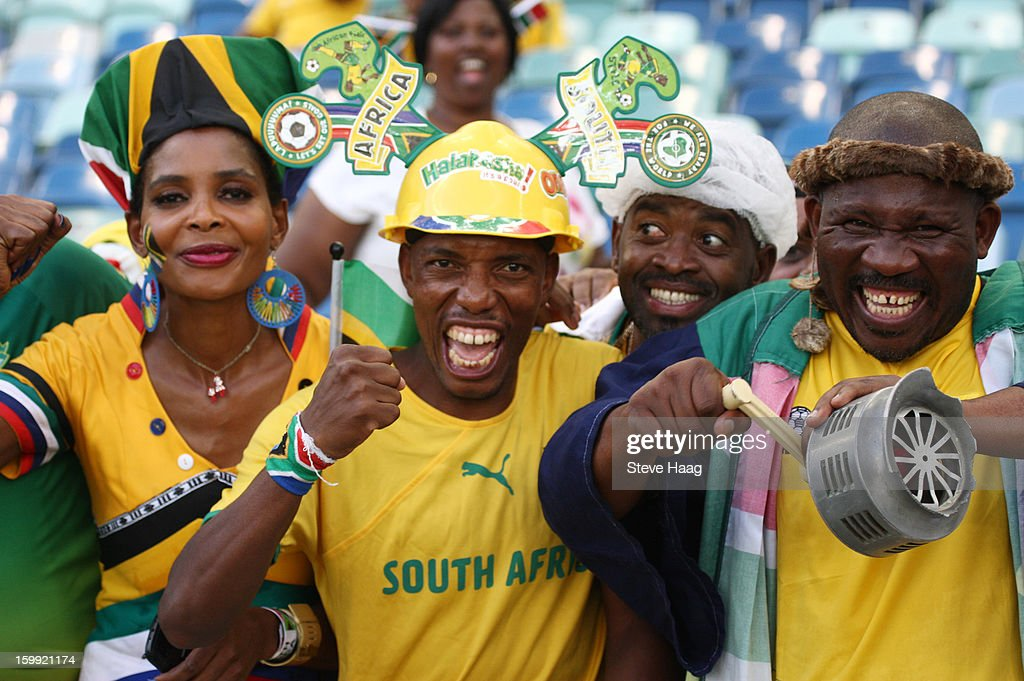 Fans during the 2013 African Cup of Nations match between South Africa and Angola at Moses Mahbida Stadium on January 23, 2013 in Durban, South Africa.