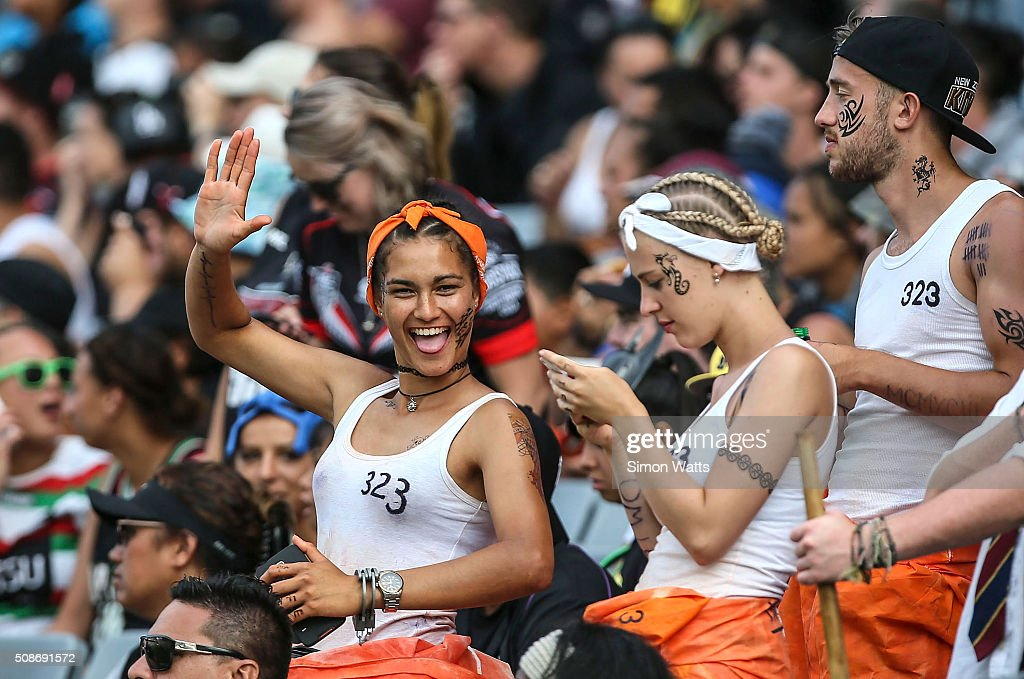 Fans during the 2016 Auckland Nines at Eden Park on February 6, 2016 in Auckland, New Zealand.