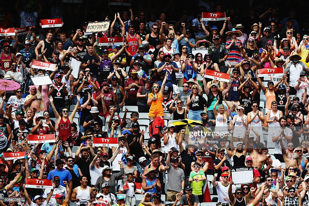 Fans during the 2016 Auckland Nines quarter final match between the New Zealand Warriors and the Canberra Raiders at Eden Park on February 7, 2016 in Auckland, New Zealand.