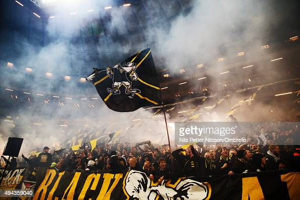 AIK fans during the Allsvenskan match between AIK and IFK Goteborg at the Friends arena on October 26 2015 in Solna Sweden