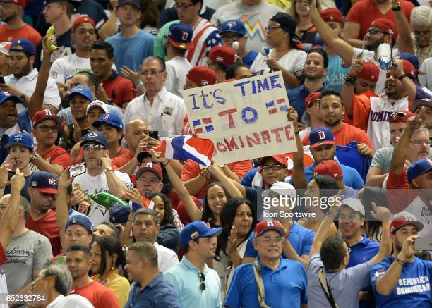 Fans during the first round pool C World Baseball Classic game between the Dominican Republic and the United States in Marlins Park in Miami FL