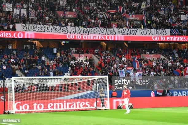 PSG fans during the French Ligue 1 match between Paris Saint Germain PSG and En Avant Guingamp at Parc des Princes on April 9 2017 in Paris France