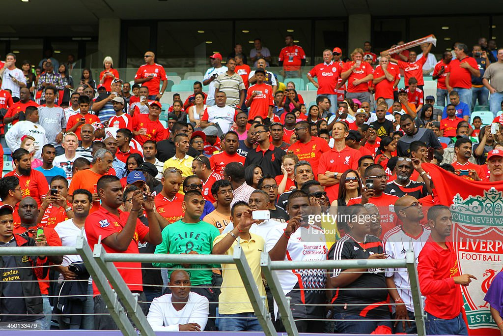 Fans during the Legends match between Liverpool FC Legends and Kaizer Chiefs Legends at Moses Mabhida Stadium on November 16, 2013 in Durban, South Africa.