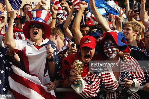 USA fans during the Mexico v USA World Cup Second Round match played at the Jeonju World Cup Stadium Jeonju South Korea on June 17 2002 The USA won 20