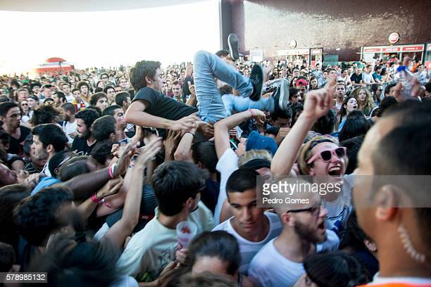 Fans during the performance of Fidlar on the EDP stage at Super Bock Super Rock festival on July 16 2016 in Lisbon Portugal