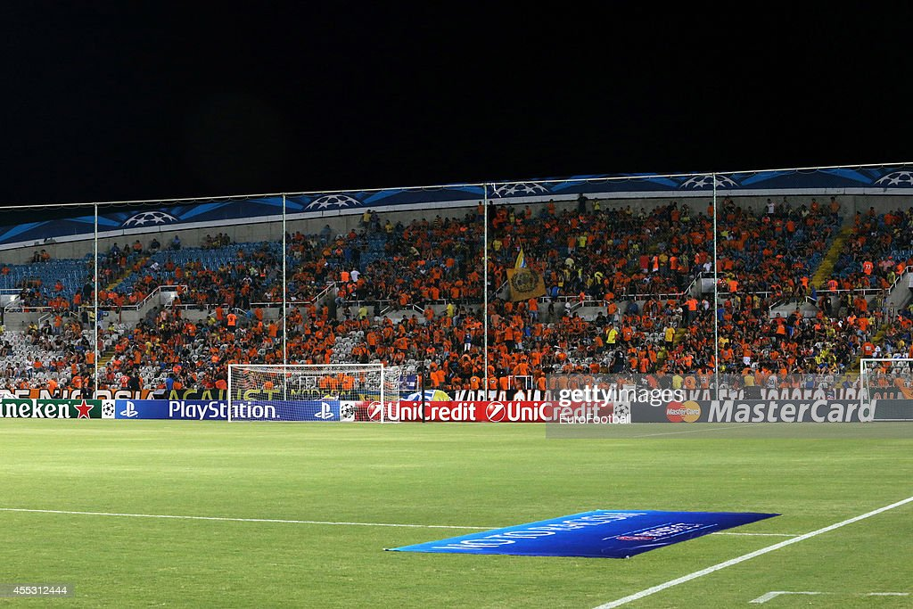 APOEL fans during the UEFA Champions League playoffs second leg match between APOEL and Aalborg at the GSP Stadium on August 26 2014 in Nicosia Cyprus
