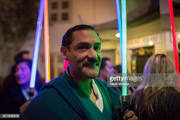 Fans emerge from a screening on opening night of Walt Disney Pictures And Lucasfilm's 'Star Wars The Force Awakens' at the TCL Chinese Theatre on...