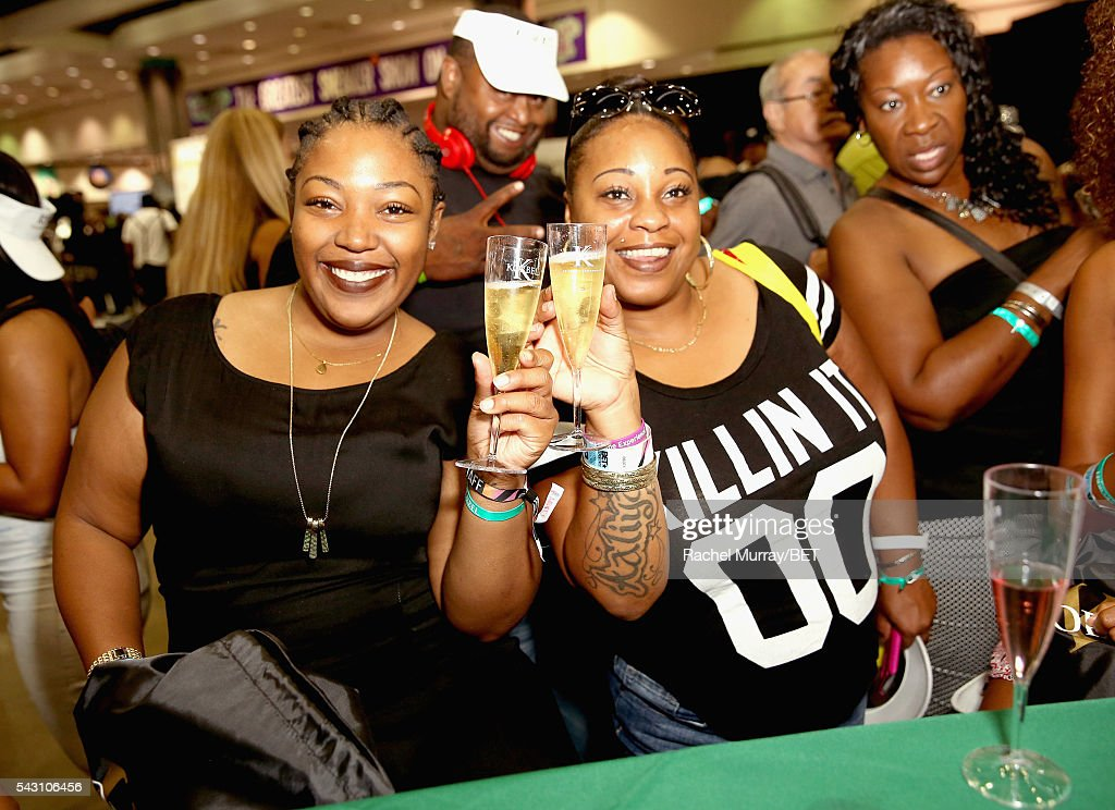 Fans enjoy a glass of Korbel at the Fashion And Beauty @BETX presented by Progressive, Covergirl, Strength of Nature, Korbel and Macy's during the 2016 BET Experience on June 25, 2016 in Los Angeles, California.