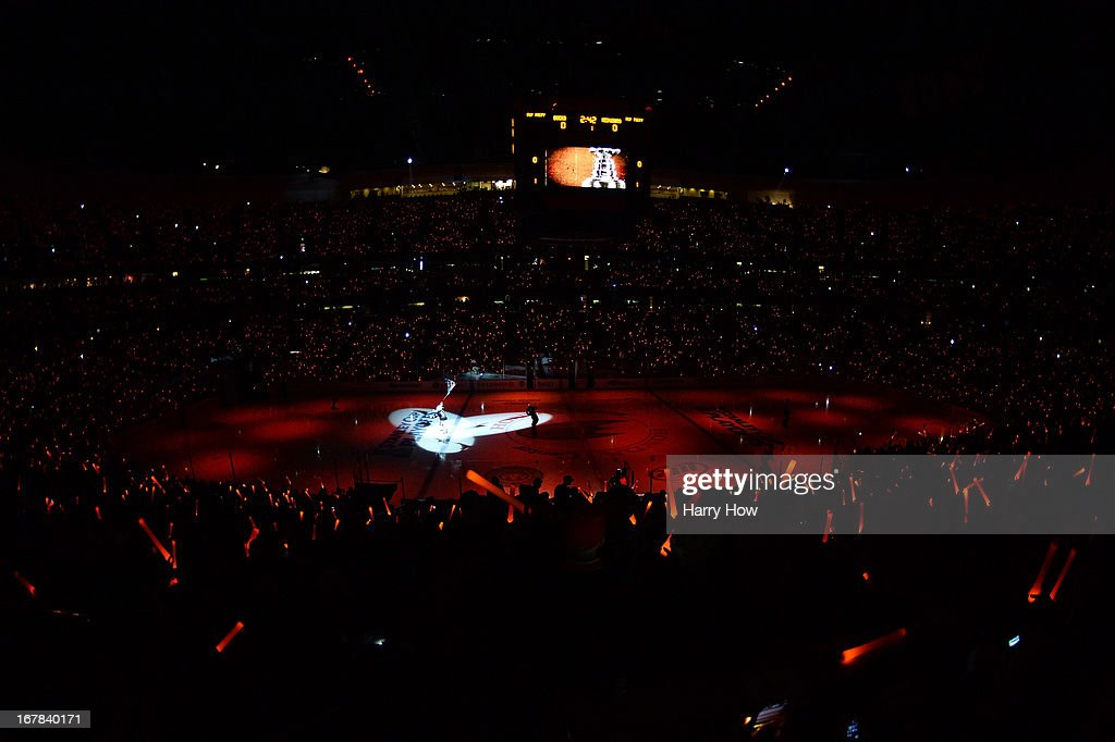 Fans enjoy a light show before the game between the Detroit Red Wings and the Anaheim Ducks in Game One of the Western Conference Quarterfinals during the 2013 Stanley Cup Playoffs at Honda Center on April 30, 2013 in Anaheim, California.
