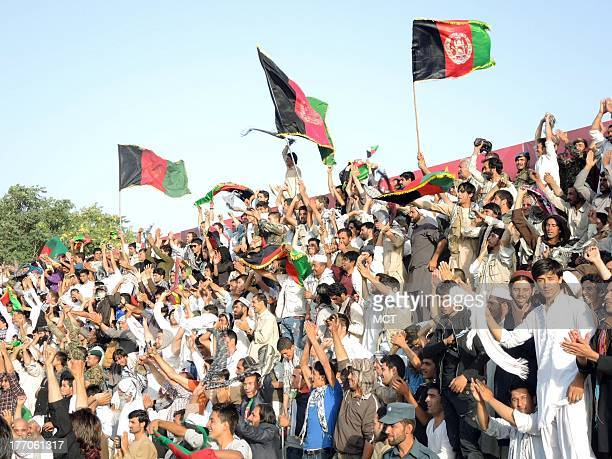 Fans enjoy Afghanistan national team's first home soccer match since 1977 against archrival Pakistan August 20 2013 in Kabul Afghanistan