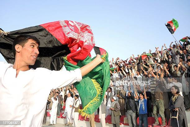 Fans enjoy Afghanistan national team's first home soccer match since 1977 against archrival Pakistan August 20 2013 in Kabul Afghanistan Afghanistan...
