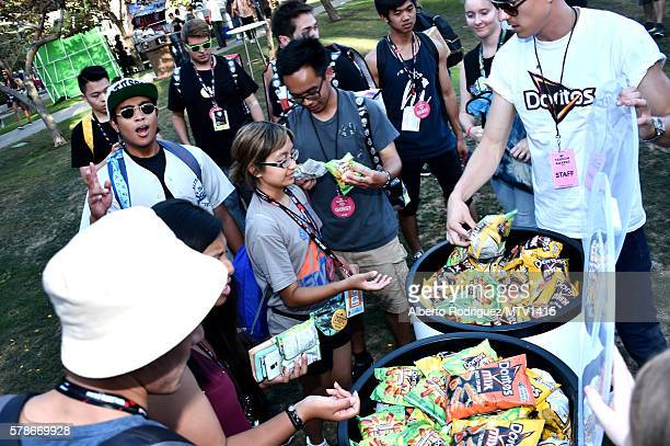 Fans enjoy Doritos at the MTV Fandom Awards San Diego at PETCO Park on July 21 2016 in San Diego California