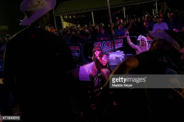 Fans enjoy festivities on the infield at Talladega Superspeedway on May 1 2015 in Talladega Alabama