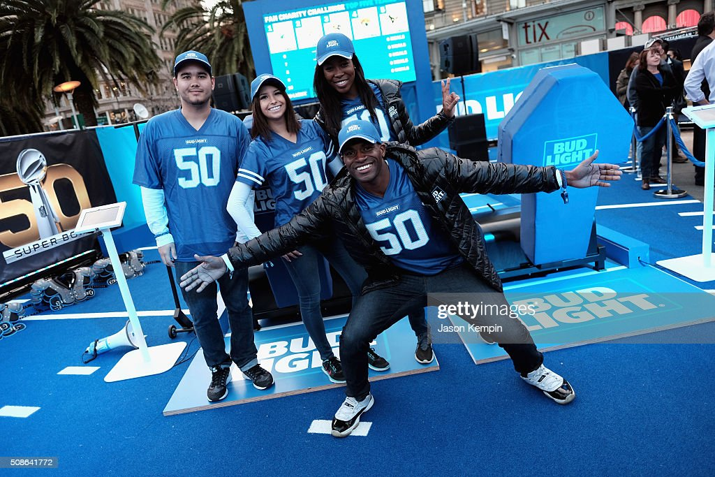 Fans enjoy football-themed activities at Bud Light at Union Square. Bud Light, the beer of the fan and official beer sponsor of the NFL, is in San Francisco to celebrate Super Bowl 50 with unique experiences that speak to the passion and pride fans have for their teams and the game.