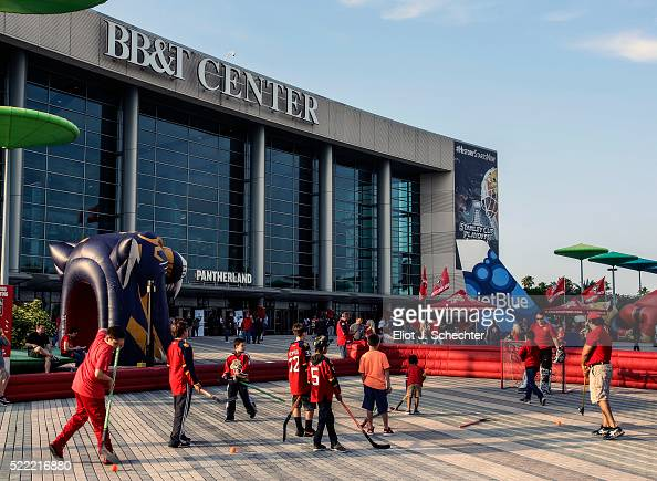 Fans enjoy pregame fun prior to the start of Game One of the Eastern Conference Quarterfinals between the Florida Panthers and the New York Islanders...