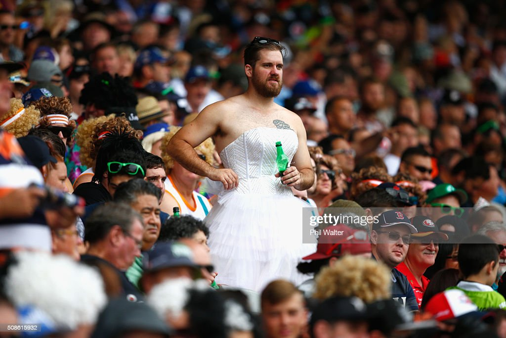 Fans enjoy the action during the 2016 Auckland Nines at Eden Park on February 6, 2016 in Auckland, New Zealand.