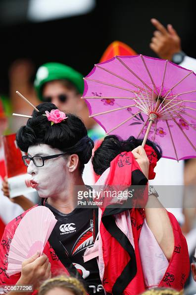 Fans enjoy the action during the 2016 Auckland Nines at Eden Park on February 6 2016 in Auckland New Zealand