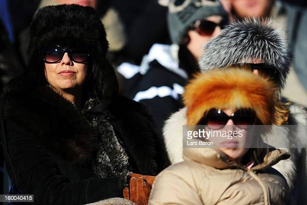 Fans enjoy the action during the Polo World Cup on Snow match between team Ralph Lauren and team Cartier on the frozen Lake St Moritz on January 25...