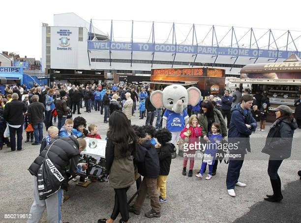 Fans enjoy the activities on offer at the Everton Roadshow before kickoff
