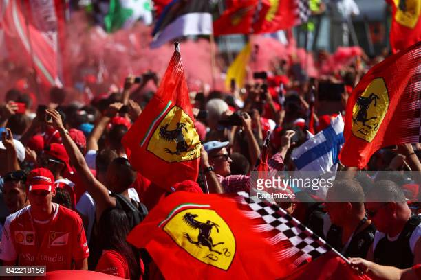 Fans enjoy the atmosphere after the Formula One Grand Prix of Italy at Autodromo di Monza on September 3 2017 in Monza Italy