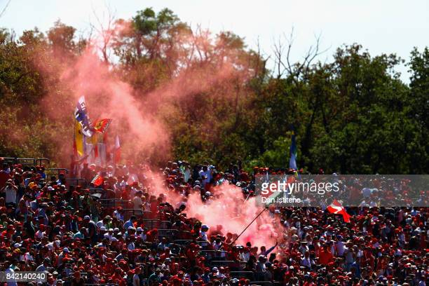 Fans enjoy the atmosphere before the Formula One Grand Prix of Italy at Autodromo di Monza on September 3 2017 in Monza Italy