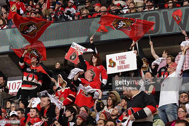 Fans enjoy the atmosphere during a game between the Ottawa Senators and the Montreal Canadiens in Game Six of the Eastern Conference Quarterfinals...