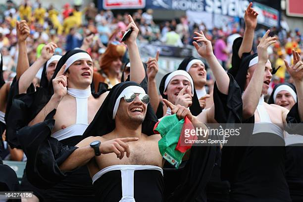 Fans enjoy the atmosphere during day one of the 2013 Hong Kong Sevens at Hong Kong Stadium on March 22 2013 in So Kon Po Hong Kong