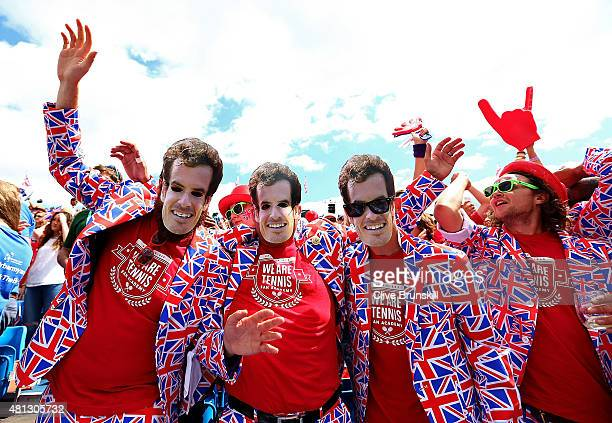Fans enjoy the atmosphere during Day Three of The World Group Quarter Final Davis Cup match between Great Britain and France at Queens Club on July...