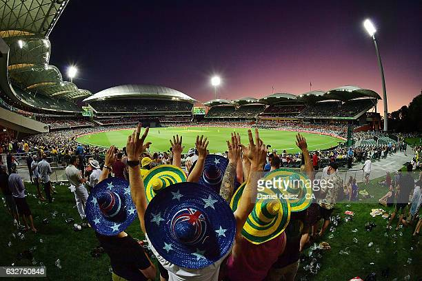 Fans enjoy the atmosphere during game five of the One Day International series between Australia and Pakistan at Adelaide Oval on January 26 2017 in...