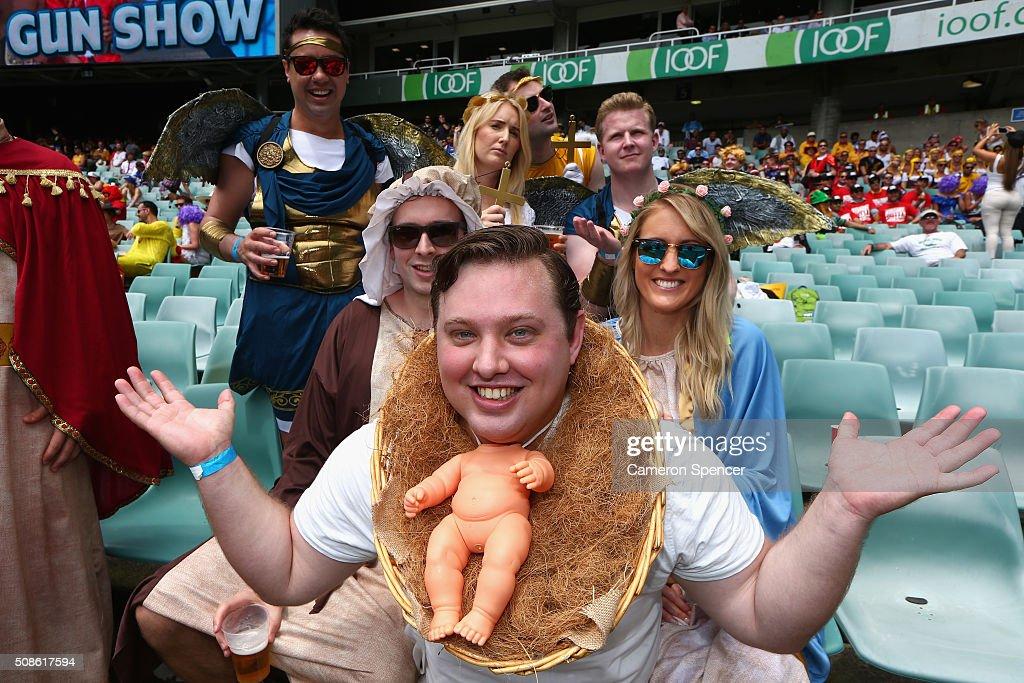 Fans enjoy the atmosphere during the 2016 Sydney Sevens at Allianz Stadium on February 6, 2016 in Sydney, Australia.