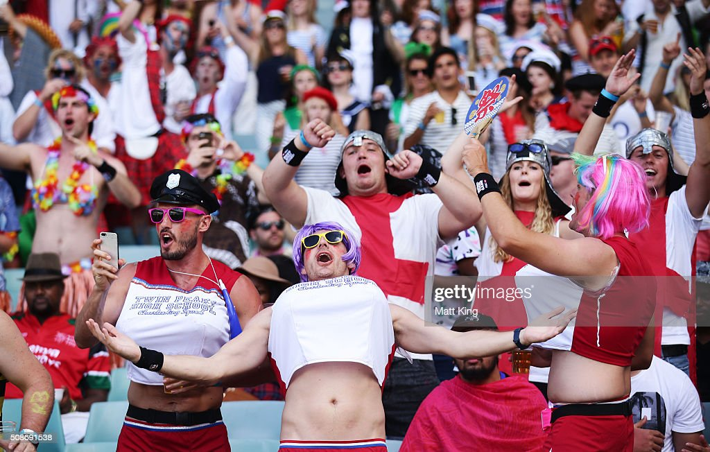 Fans enjoy the atmosphere during the 2016 Sydney Sevens at Allianz Stadium on February 6, 2016 in Sydney, Australia.