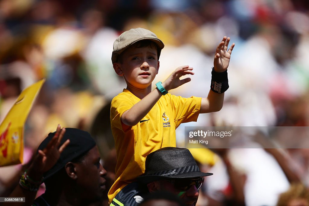 Fans enjoy the atmosphere during the 2016 Sydney Sevens at Allianz Stadium on February 7, 2016 in Sydney, Australia.