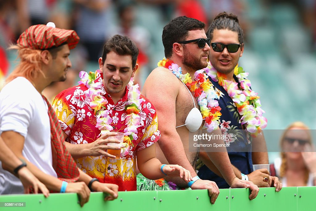 Fans enjoy the atmosphere during the 2016 Sydney Sevens match between Argentina and France at Allianz Stadium on February 6, 2016 in Sydney, Australia.