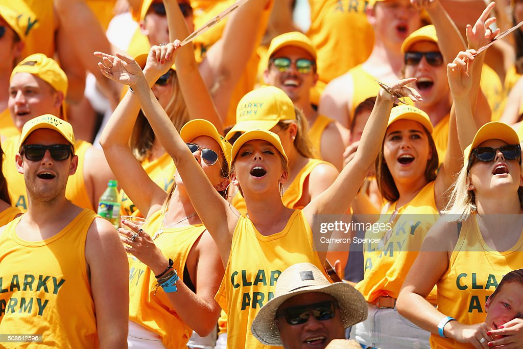 Fans enjoy the atmosphere during the 2016 Sydney Sevens match between Australia and Portugal at Allianz Stadium on February 6, 2016 in Sydney, Australia.