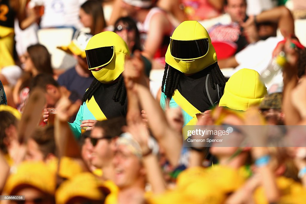 Fans enjoy the atmosphere during the 2016 Sydney Sevens match between Australia and Canada at Allianz Stadium on February 6, 2016 in Sydney, Australia.