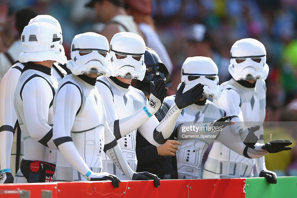 Fans enjoy the atmosphere during the 2016 Sydney Sevens match between New Zealand and Portugal at Allianz Stadium on February 6, 2016 in Sydney, Australia.