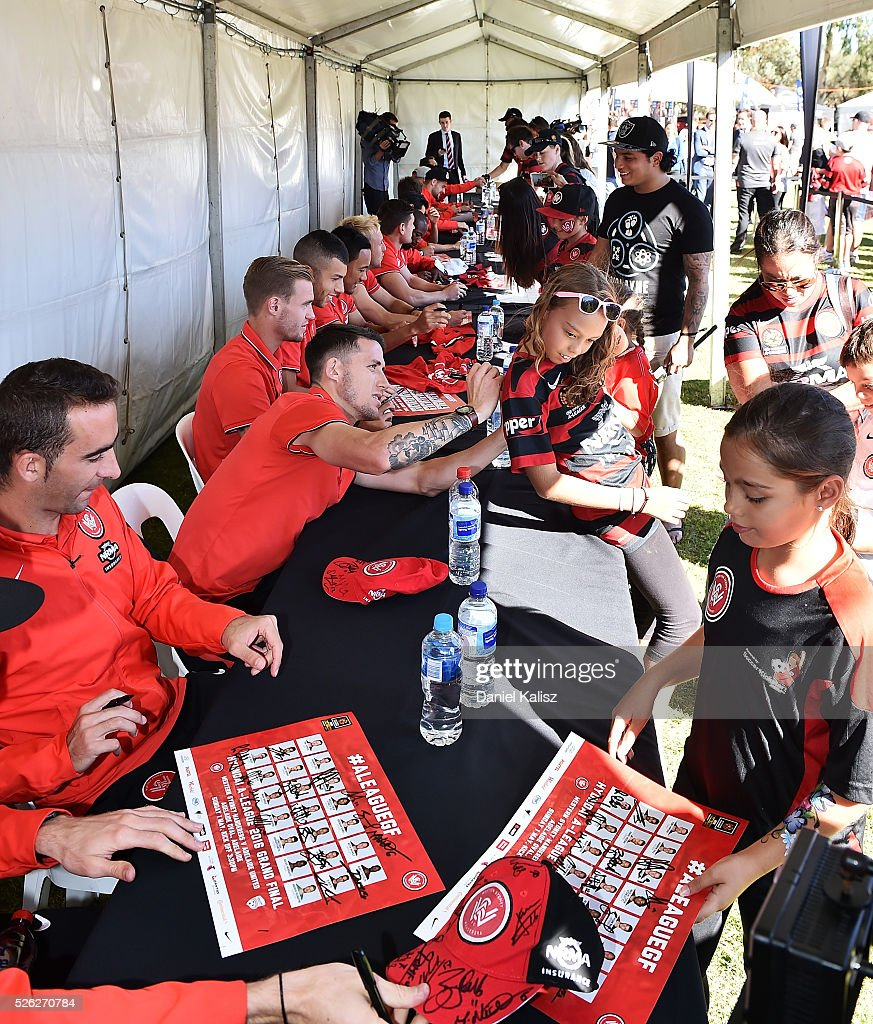 Fans enjoy the atmosphere during the A-League Grand Final Fan Day at Bonython Park on April 30, 2016 in Adelaide, Australia.