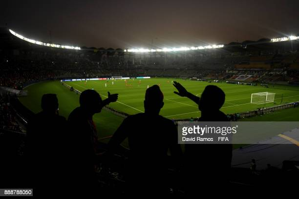 Fans enjoy the atmosphere during the FIFA Club World Cup match between CF Pachuca and Wydad Casablanca at Zayed Sports City Stadium on December 9...