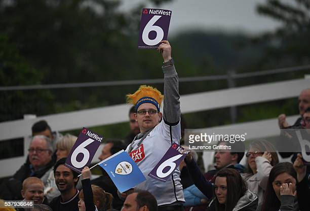 Fans enjoy the atmosphere during the NatWest T20 Blast match between Derbyshire Falcons and Leicestershire Foxes at The County Ground on June 3 2016...